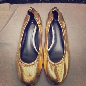 Gold Lanvin ballet flats